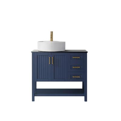 Modena 36 in. Vanity in Blue with Tempered Glass Top in Black with White Vessel Sink