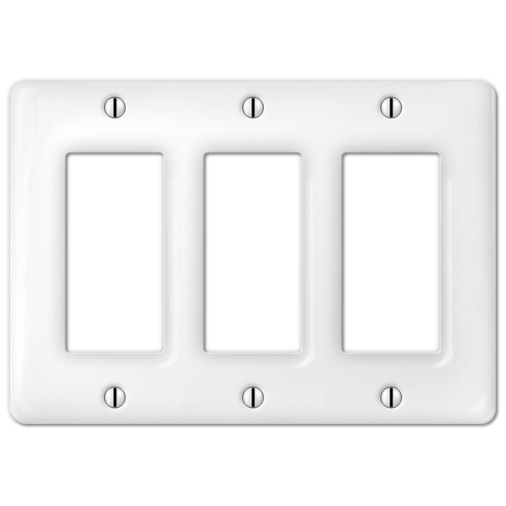 Amerelle Allena 3 Gang Rocker Ceramic Wall Plate White