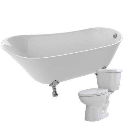 Legion 66.93 in. Acrylic Clawfoot Non-Whirlpool Bathtub in White with Kame 2-Piece 1.28 GPF Single Flush Toilet