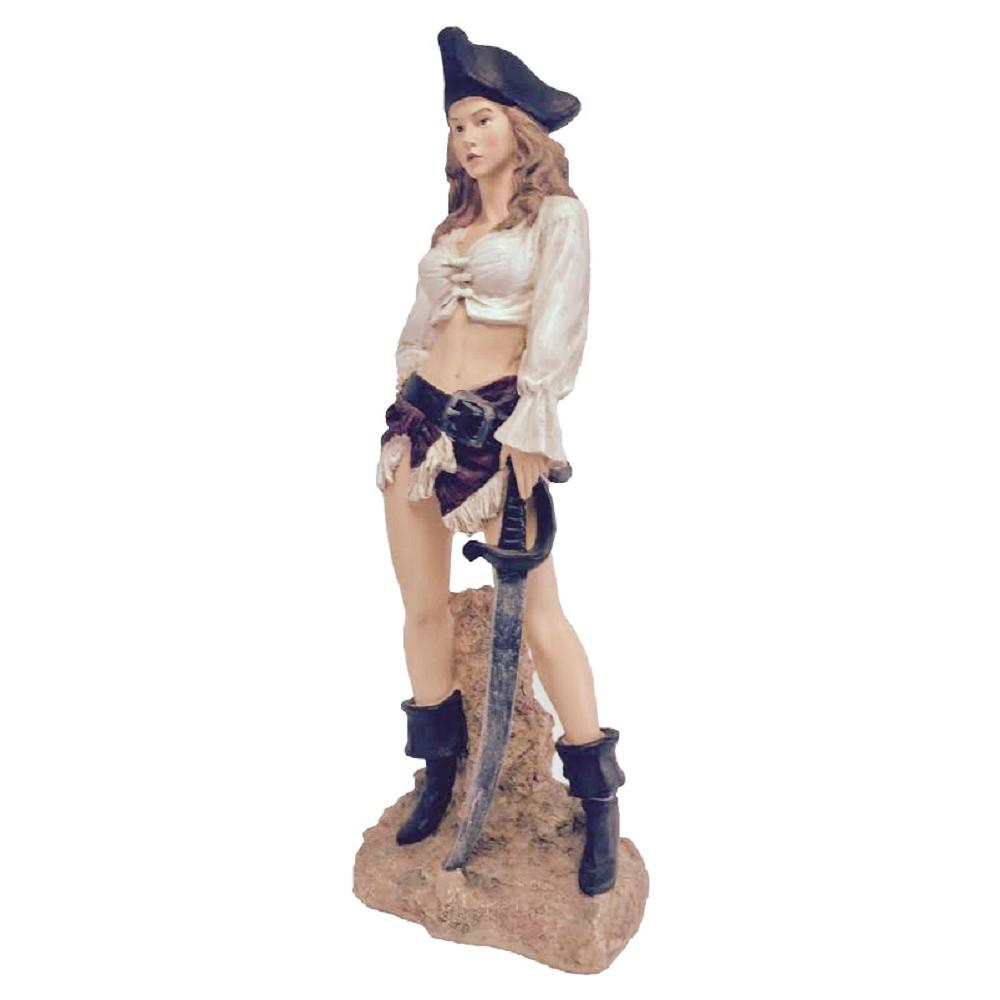 HOMESTYLES 21 in. Sexy Lady Pirate with Sword Beach Statue