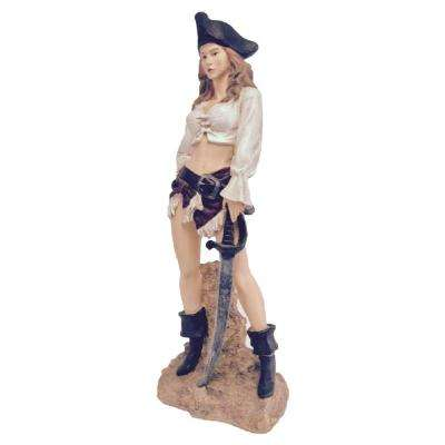 21 in. Sexy Lady Pirate with Sword Beach Statue