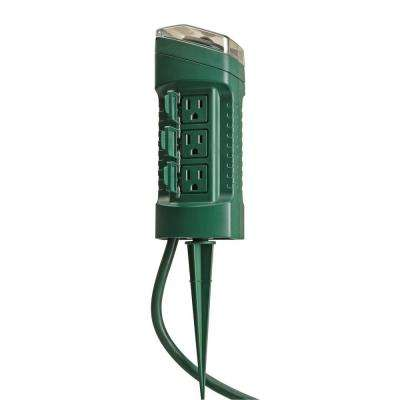 Outdoor 6-Outlet Yard Stake with Photocell Light Sensor Timer and 6 ft. Cord - Green