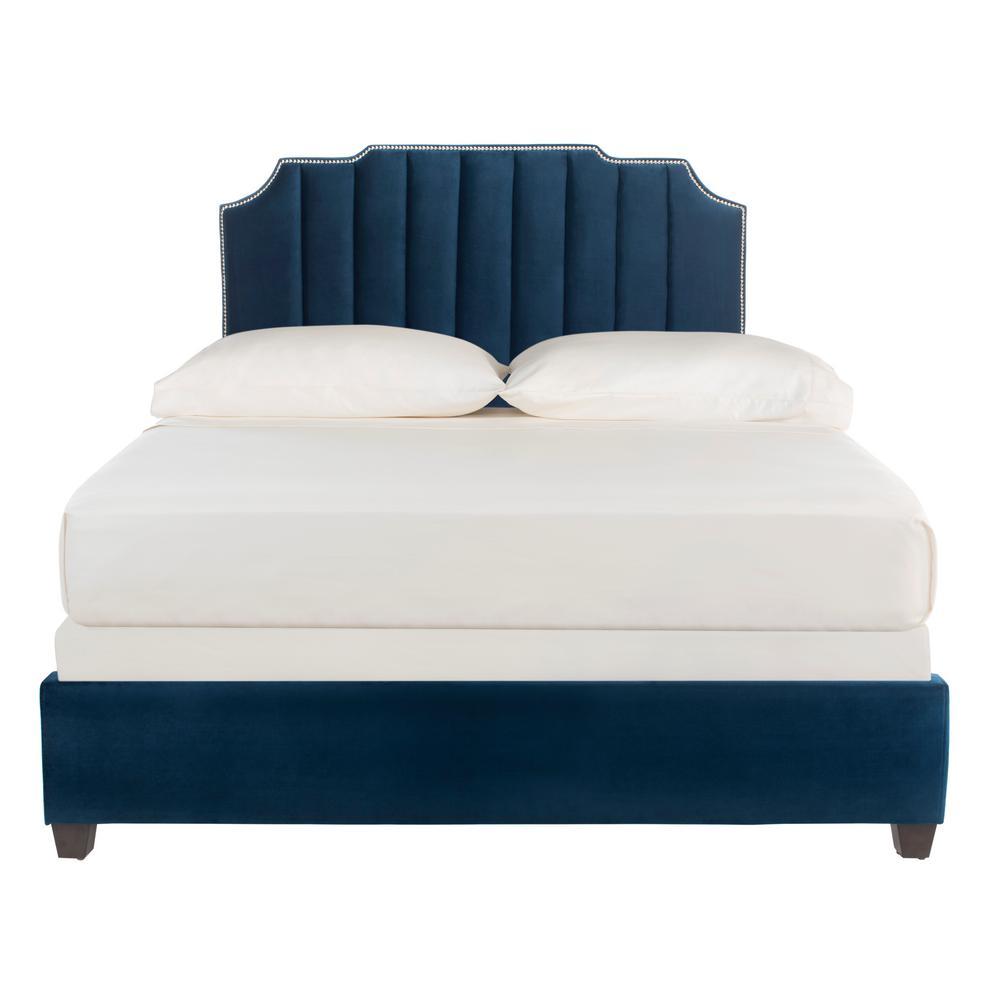 Streep Fabric Navy Queen Bed