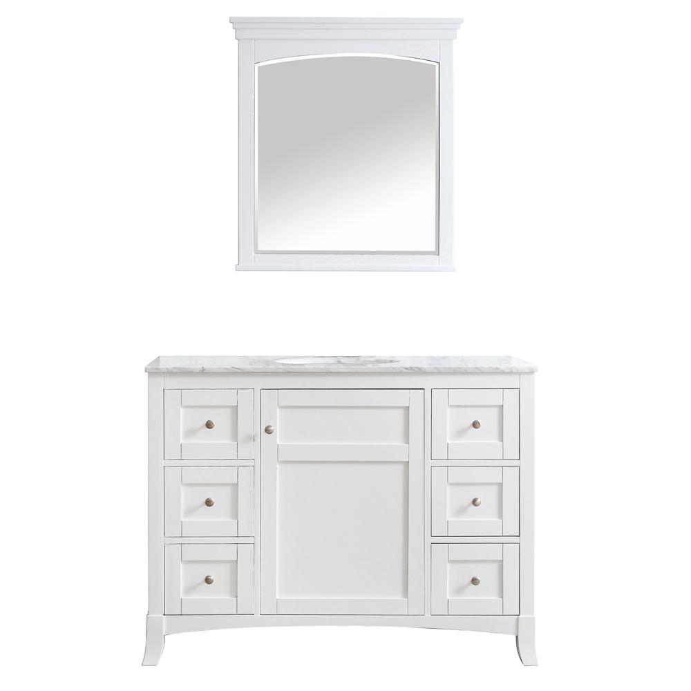 Arezzo 48 in. W x 22 in. D x 36 in. H Vanity in White with Marble Vanity Top in White with White Basin and Mirror