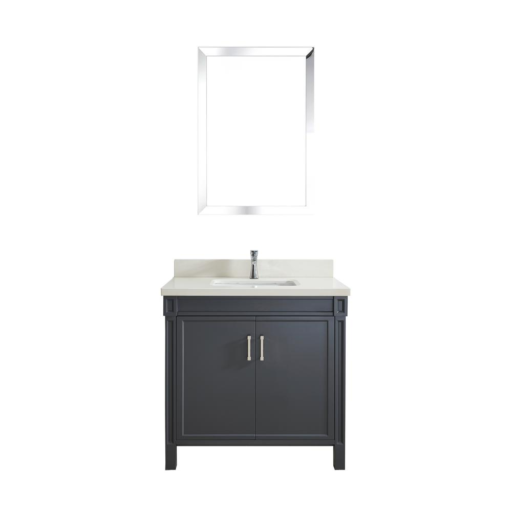 Studio Vanity Pepper Gray Quartz Vanity Top White Basin Image