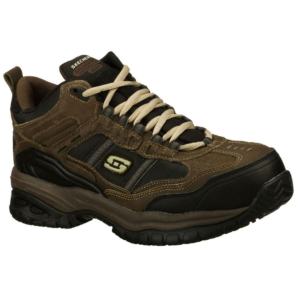 Skechers Men's Work Relaxed Fit Soft Stride Canopy Comp Toe Shoe, Brown/Black - 7 3E US