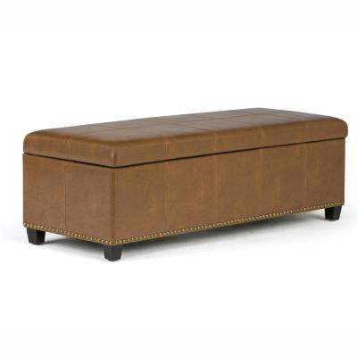 Kingsley 48 in. Transitional Storage Ottoman in Burnt Umber Tan Bonded Leather
