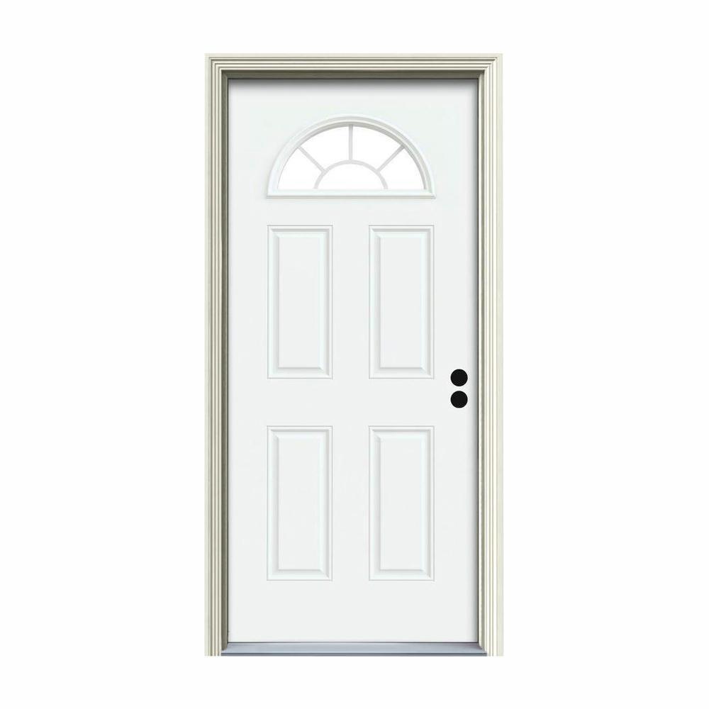 34 in. x 80 in. Fan Lite White Painted Steel Prehung Left-Hand Inswing Front Door w/Brickmould