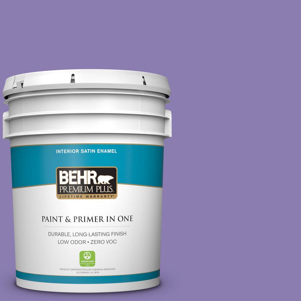 5 gal. #PPU16-04 Purple Agate Zero VOC Satin Enamel Interior Paint