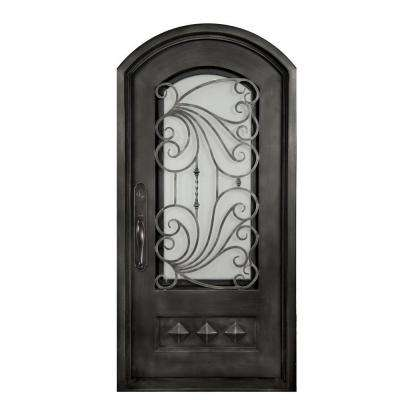 40 in. x 98 in. Mara Marea Classic 3/4 Lite Painted Silver Pewter Frost Wrought Iron Prehung Front Door