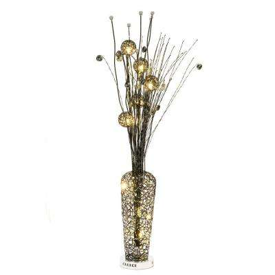 56 in. Black Floor Lamp Pictured with Warm White LED Bulbs