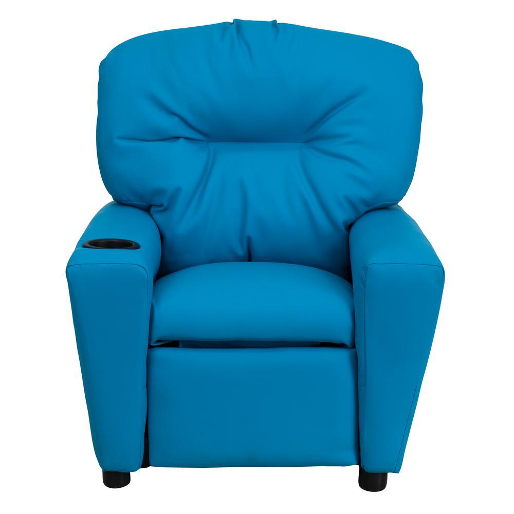 Terrific Flash Furniture Contemporary Turquoise Vinyl Kids Recliner Machost Co Dining Chair Design Ideas Machostcouk