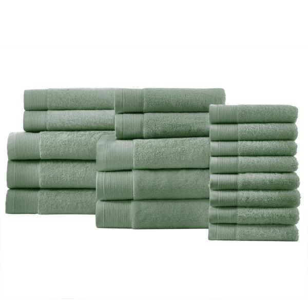 Performance Quick Dry 18-Piece Towel Set in Willow Green