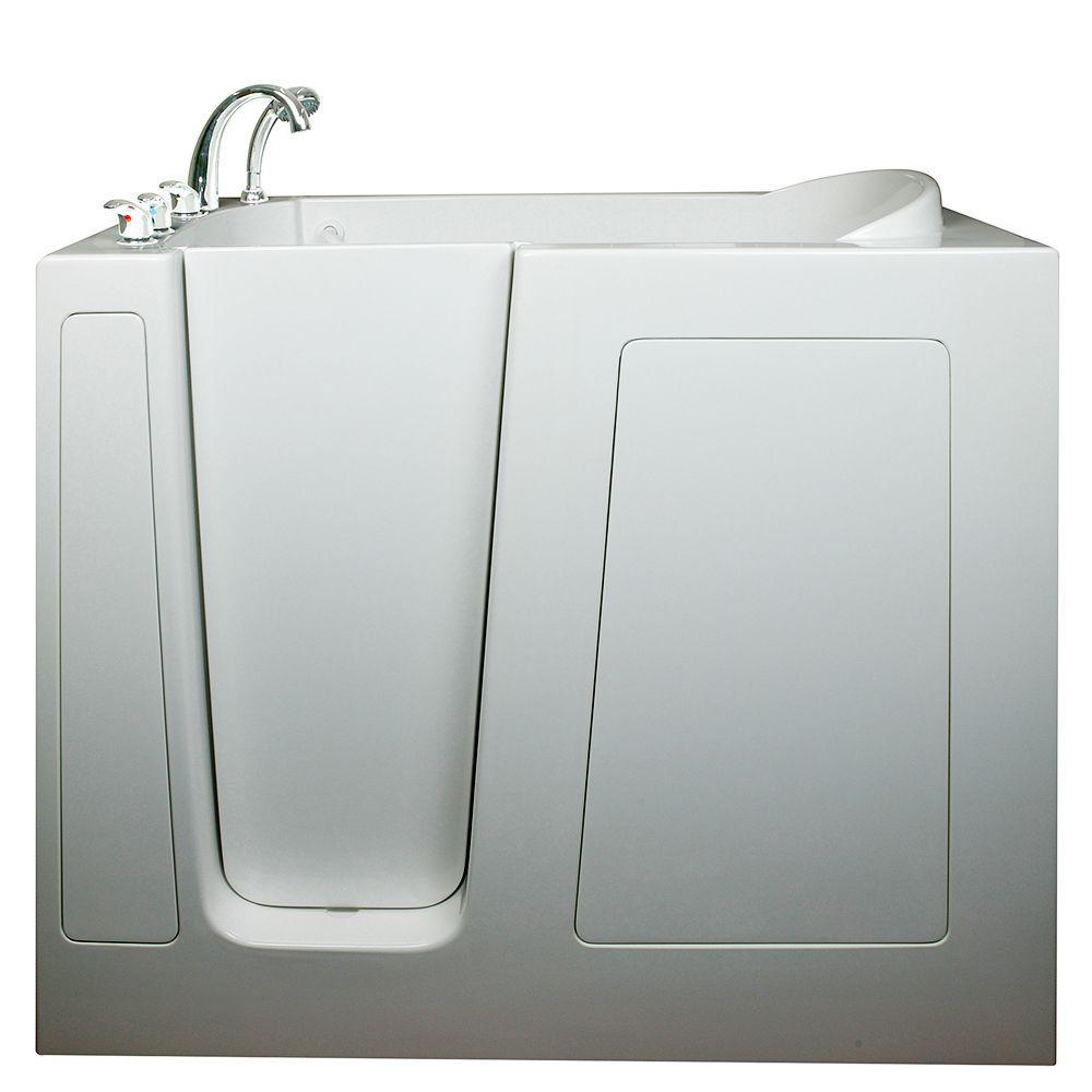 Deep 4.58 ft. x 30 in. Walk-In Bathtub in White with Left Drain/Door