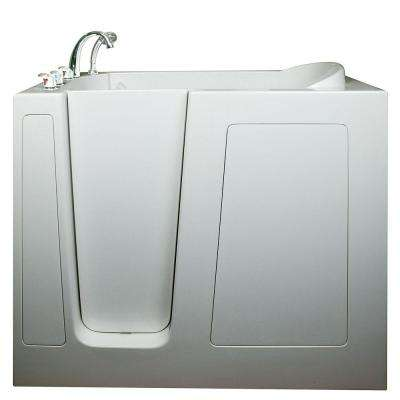 Deep 4.58 ft. x 30 in. Walk-In Air and Hydrotherapy Massage Bathtub in White with Left Drain/Door