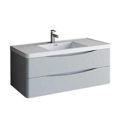 Tuscany 48 in. Modern Wall Hung Vanity in Glossy Gray with Vanity Top in White with White Basin