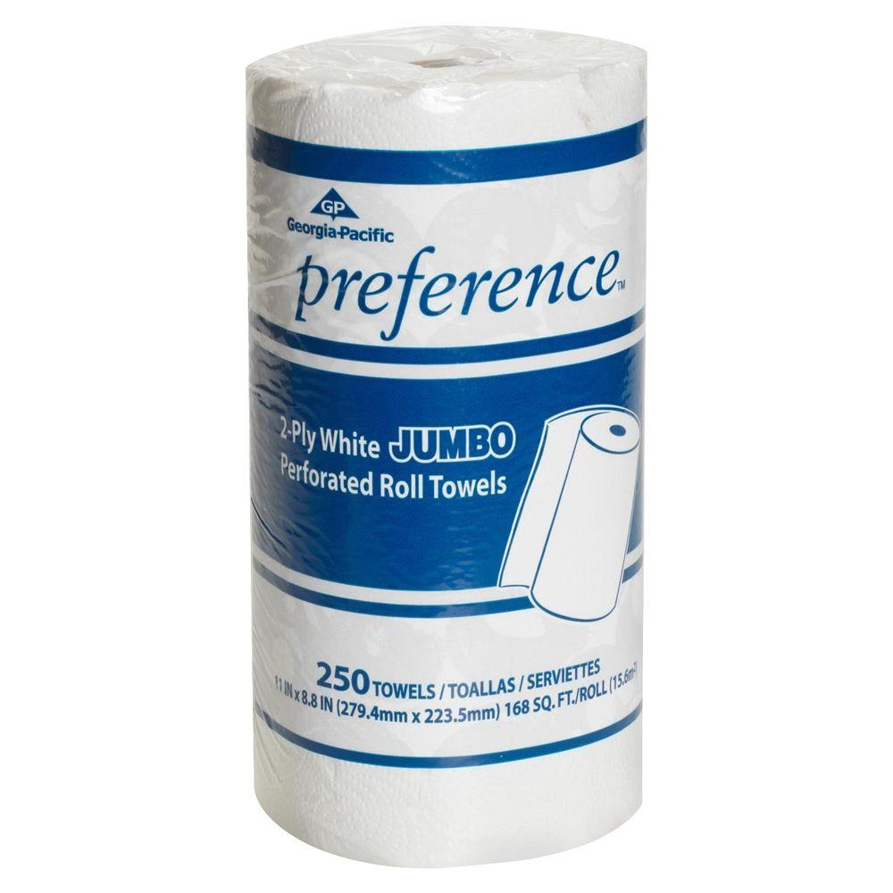 Preference White Jumbo Perforated Roll Paper Towels (250 Sheets per Roll