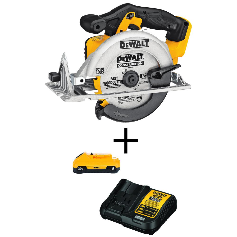 DEWALT 20-Volt MAX Li-Ion Cordless 6-1/2 inch Circular Saw (Tool-Only) w/ 20-Volt MAX Li-Ion Battery Pack 3.0Ah w/ Charger