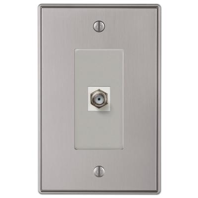 Ansley 1 Gang Coax Metal Wall Plate - Brushed Nickel