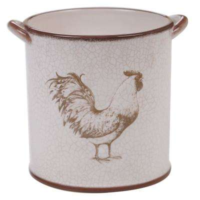 Toile Rooster Multi-Color Ceramic Tool Crock