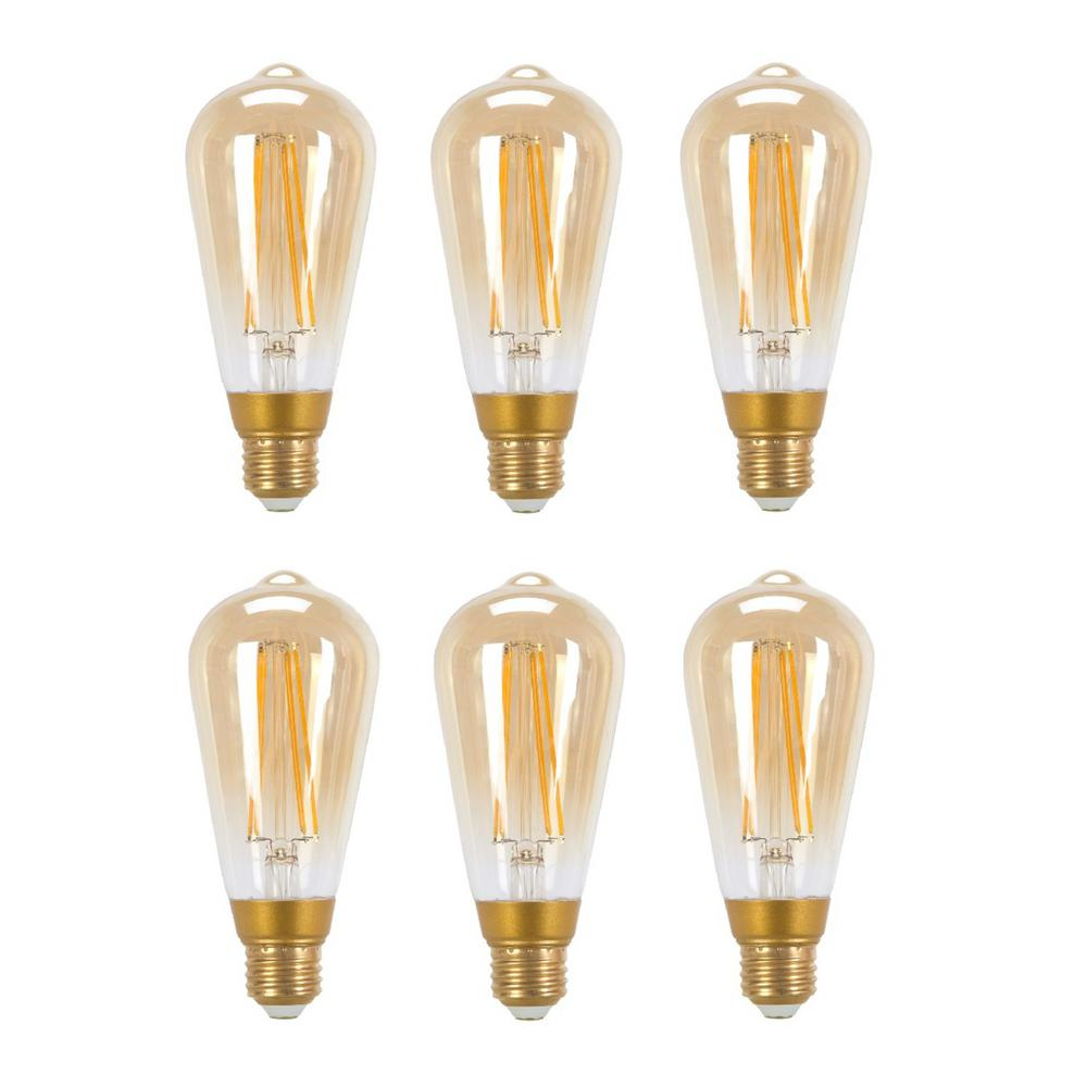 globe electric 60w equivalent soft white 2200k vintage edison dimmable led light bulb