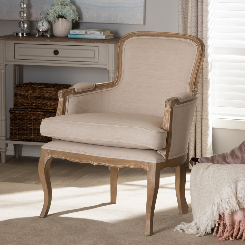 Napoleon Beige and Brown Fabric Upholstered Accent Chair