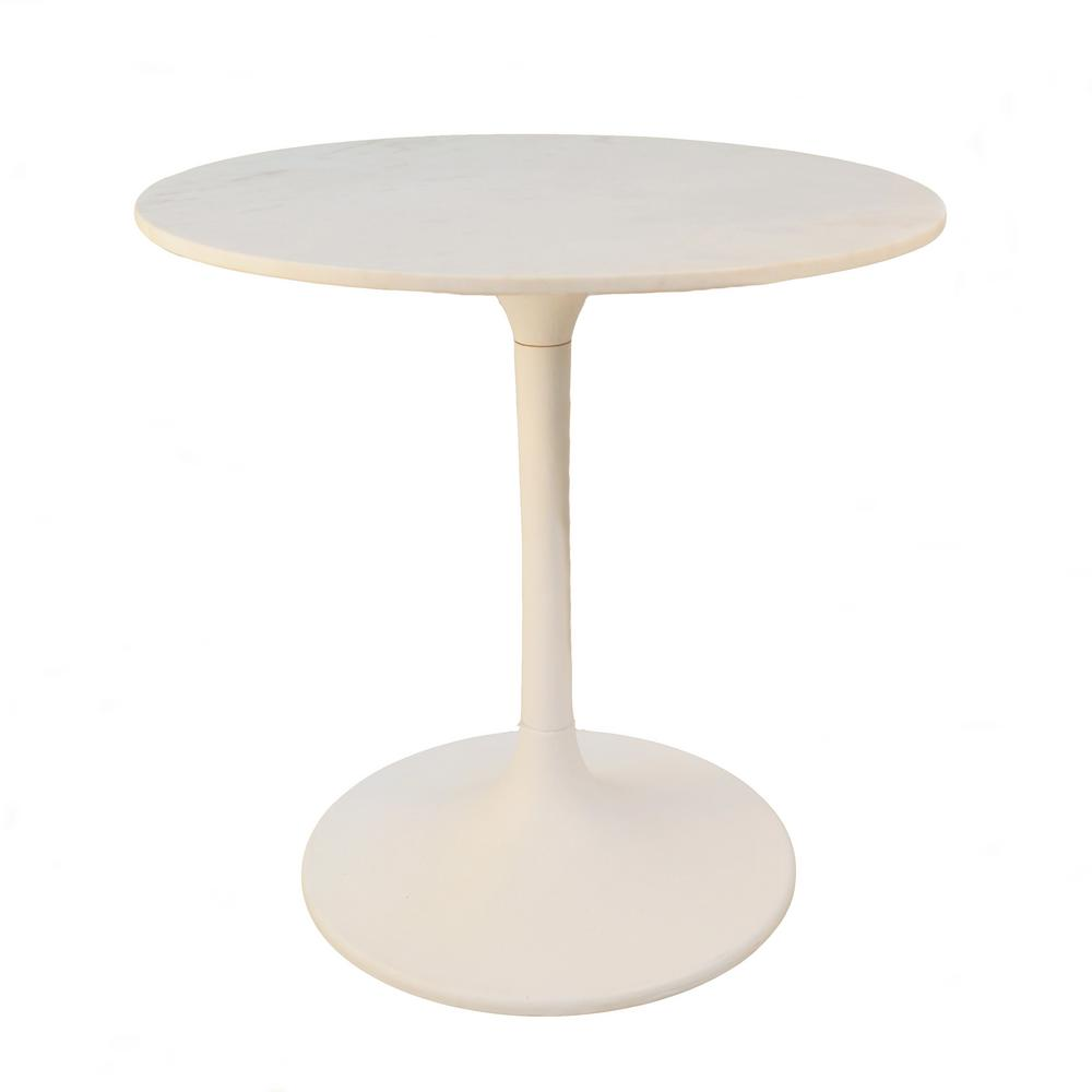 Enzo White Round Marble Top Dining Table Mt3030 Wht The Home Depot