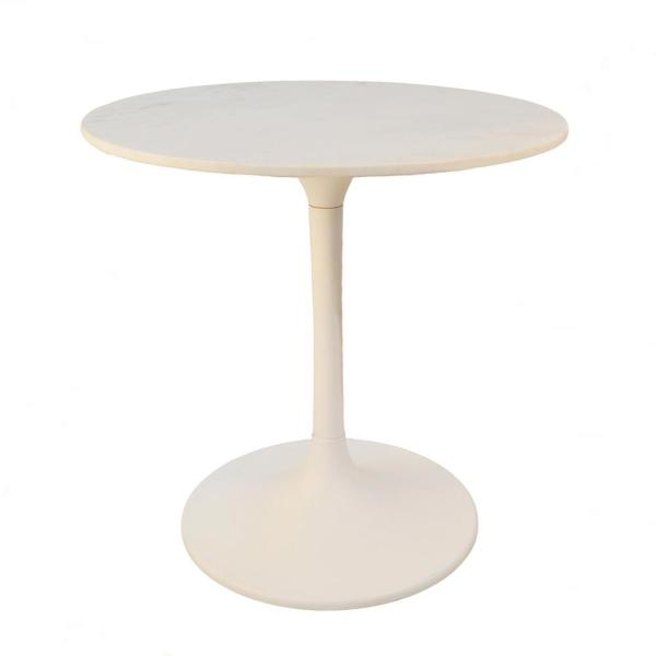 30 in. Enzo White Round Marble Top Dining Table