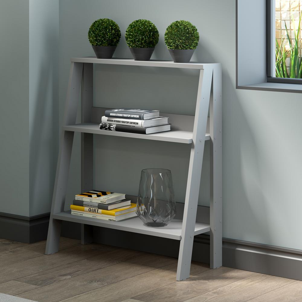 30 in. Wood Ladder Bookshelf - Grey