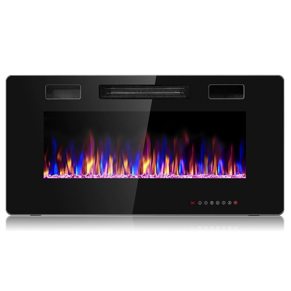 Electric Remote Control 5000 BTU 36 in. Wall Electric Fireplace in Black