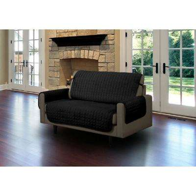 Black Microfiber Loveseat Pet Protector Slipcover with Tucks and Strap