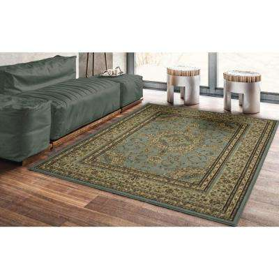 Traditional Oriental Medallion Light Blue 5 ft. x 7 ft. Area Rug