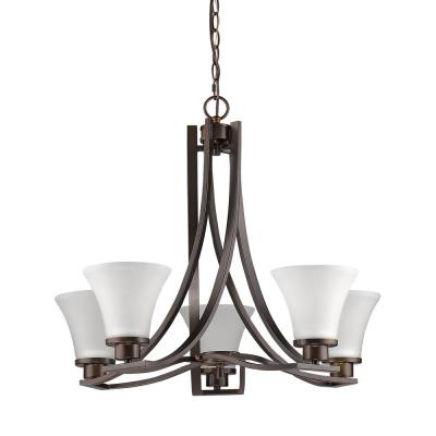Mia Indoor 5-Light Oil Rubbed Bronze Mini Chandelier with Glass Shades