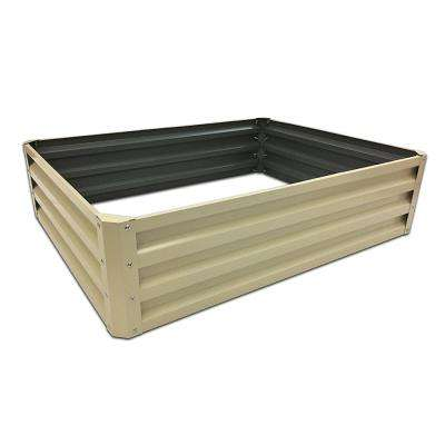 35 in. x 12 in. Beige Metal Raised Garden Bed