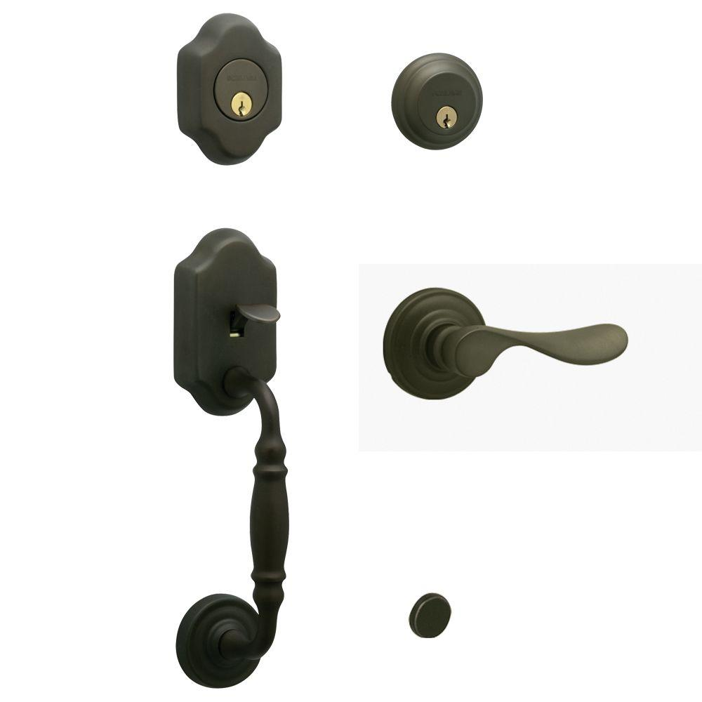 Schlage Monticello Handleset with Champagne Interior Lever Left Hand Oil Rubbed Bronze - Double Cylinder-DISCONTINUED