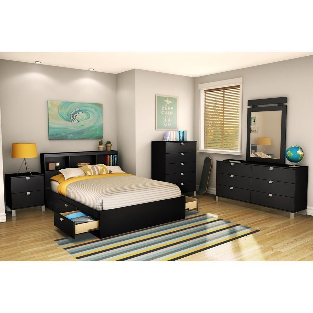 South Shore Spark Full Size Bookcase Headboard In Pure Black