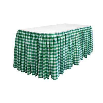 14 ft. x 29 in. Long White and Hunter Green Polyester Gingham Checkered Table Skirt with 10 L-Clips