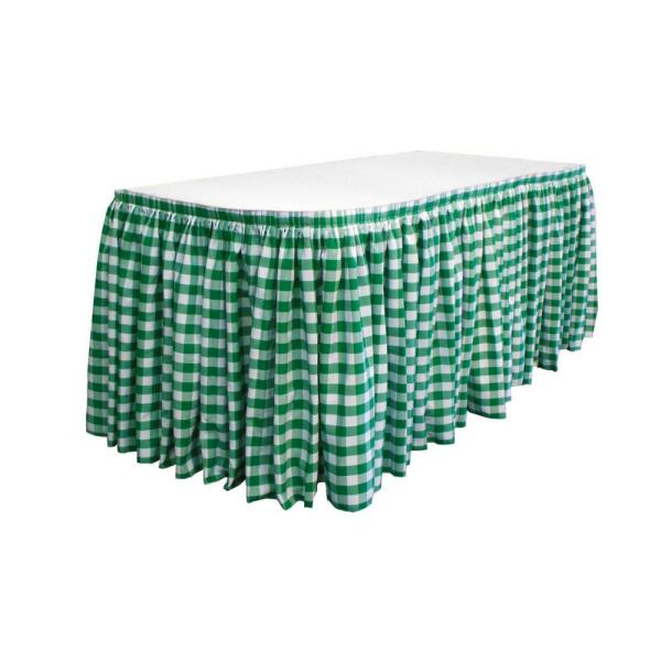 Sensational 30 Ft X 29 In Long Hunter Green Oversized Checkered Table Skirt With 15 L Clips Download Free Architecture Designs Scobabritishbridgeorg