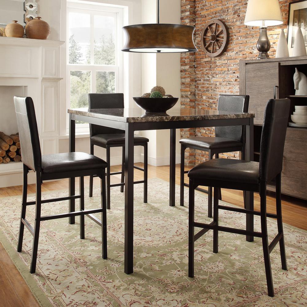 HomeSullivan Bedford 5 Piece Black Bar Table Set