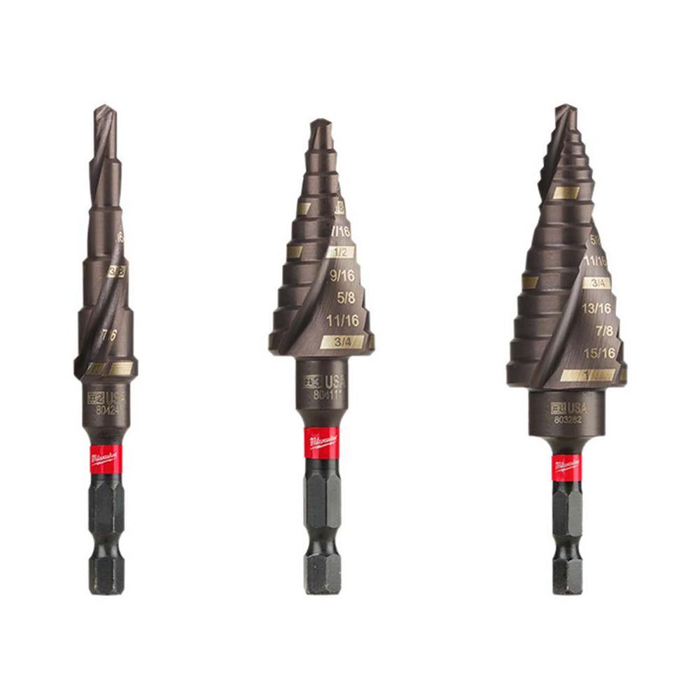 Step Drill Bit >> Milwaukee Titanium Shockwave Impact Duty Step Bit Kit 3 Piece