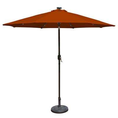 Mirage Fiesta 9 ft. Market Solar LED Auto-Tilt Patio Umbrella in Terra Cotta Olefin