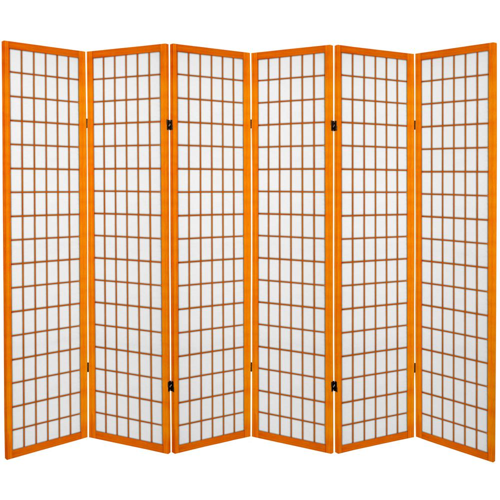 Oriental furniture 6 ft honey canvas window pane 6 panel for Window dividers
