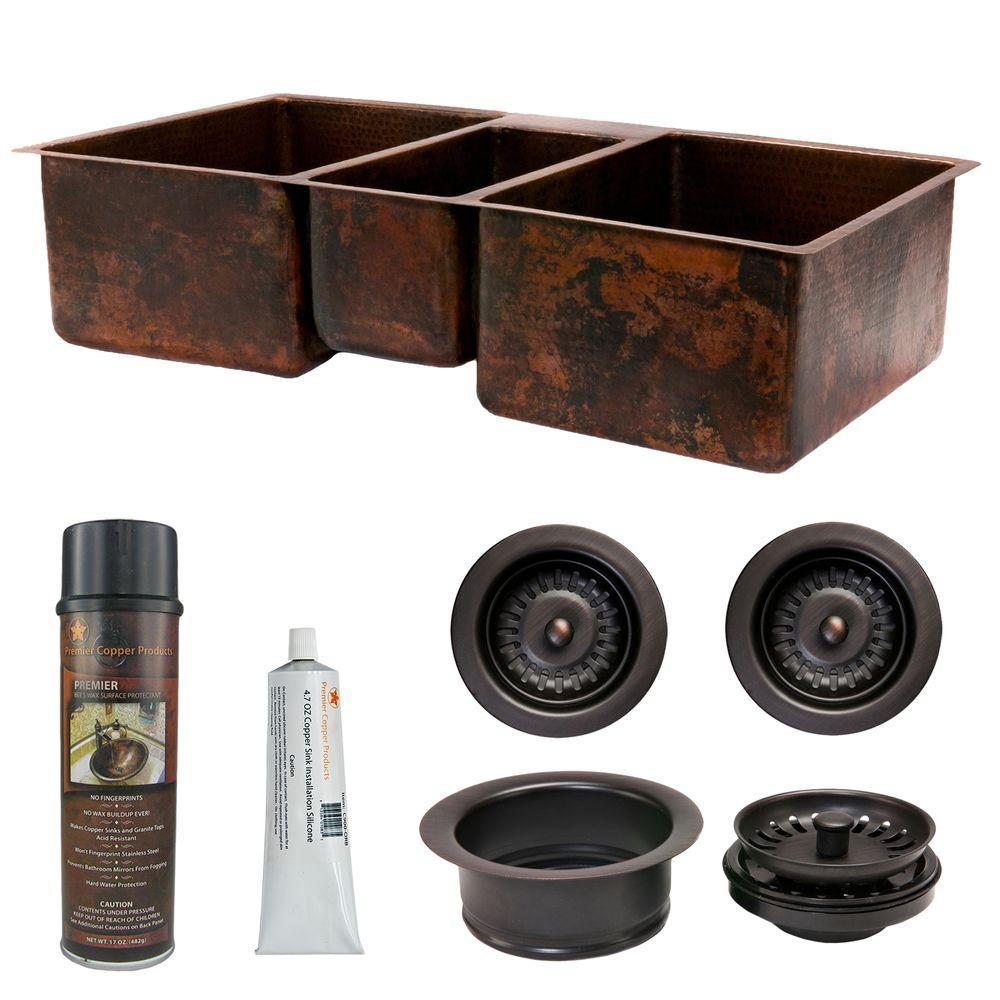 Premier Copper Products Undermount Hammered Copper 42 in. 0-Hole Triple Bowl Kitchen Sink and Drain in Oil Rubbed Bronze