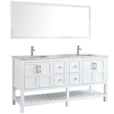 Sohia 72 in. Double Vanity in White with Marble Vanity Top in Carrara White with White Ceramic Basins and Mirror