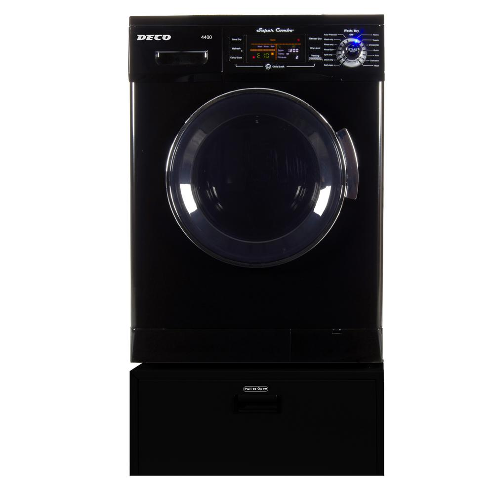Deco All In One 1 6 Cu Ft Black Compact Washer Dryer