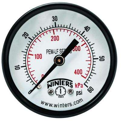 PEM-LF Series 2 in. Lead-Free Brass Pressure Gauge with 1/8 in. NPT CBM and 0-60 psi/kPa