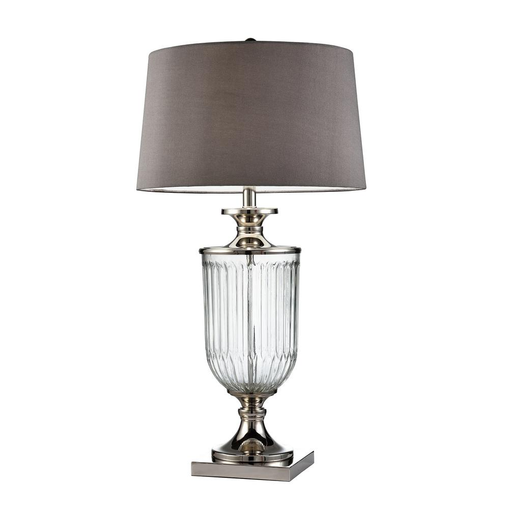 Dsi Fillable 20 25 In Clear Glass Table Lamp With Linen
