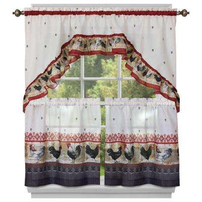 Semi-Opaque Polyester Rooster Printed 36 in. W x 57 in. L Tier and Swag Curtain in Burgundy (2-Pack)