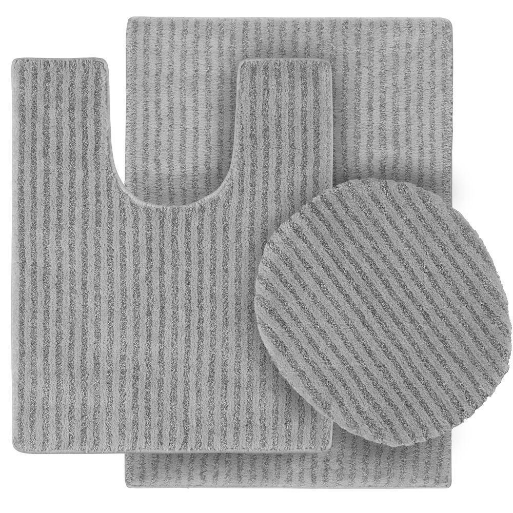 Sheridan Platinum Gray 21 in. x 34 in. Washable Bathroom 3-Piece Rug Set