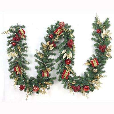 12 ft. Pre-Lit Plaza Artificial Garland with 100 Battery-Operated Warm White LED